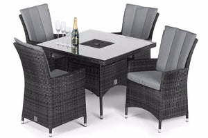 LA 4 Seat Square Dining Set with Ice Bucket by Maze Rattan - Gardenbox