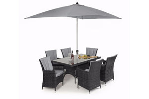 LA 6 Seat Rectangular Dining Set by Maze Rattan - Gardenbox