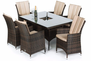 LA 6 Seat Rectangular Dining Set with Ice Bucket by Maze Rattan - Gardenbox