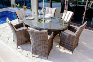 LA 6 Seat Oval Dining Set with Ice Bucket by Maze Rattan - Gardenbox