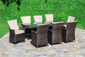 LA 8 Seat Rectangular Dining Set by Maze Rattan - Gardenbox