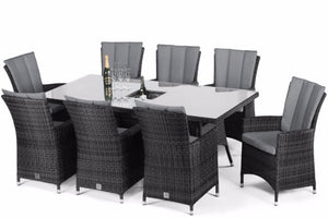 LA 8 Seat Rectangular Dining Set with Ice Bucket by Maze Rattan - Gardenbox