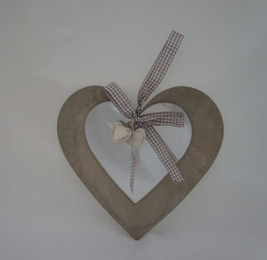 Grey Wooden Hanging Heart with Mirrored Heart Decoration - Gardenbox