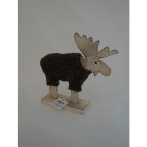 Carved Cute Wooden Reindeer Decoration with Woolly Coat - Great Gift - Choice of Size - Gardenbox