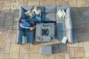 New York U-Shaped Sofa Set with Fire Pit Table by Maze Rattan
