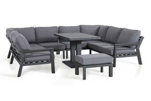 New York U-Shaped Sofa Dining Set with Rising Table by Maze Rattan