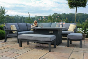 New York Corner Dining Sofa Set with Fire Pit Table by Maze Rattan