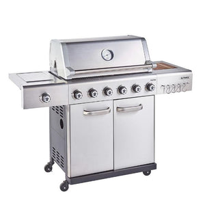Outback Jupiter 6 Burner Hybrid Stainless Steel Gas BBQ - Free Pizza Stone & Griddle