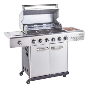 Outback Jupiter 6 Burner Hybrid Stainless Steel Gas BBQ - Free Pair of Pizza Stones - Gardenbox
