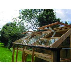 Free Automatic Roof Vent openers on the 8ft Wide Swallow Raven Wooden Greenhouse