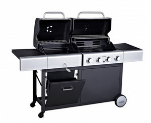 Cook with both BBQs at the same time on the Outback Combi 4 Burner Gas & Charcoal BBQ