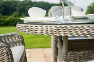 Oxford 4 Seat Round Dining Set with Venice Chairs by Maze Rattan - Gardenbox