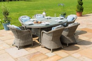 Maze Rattan Oxford 6 Seat Oval Fire Pit Dining Set with Heritage Chairs - Gardenbox