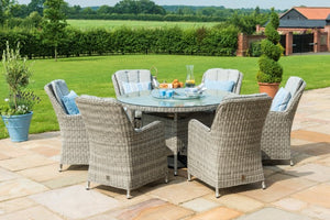 Oxford 6 Seat Round Ice Bucket Dining Set with Venice Chairs and Lazy Susan by Maze Rattan - Gardenbox