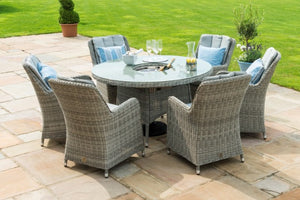 Maze Rattan Oxford 6 Seat Round Fire Pit Dining Set with Venice Chairs - Gardenbox
