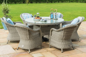 Maze Rattan Oxford 6 Seat Round Fire Pit Dining Set with Heritage Chairs - Gardenbox