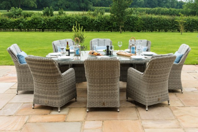 Oxford 8 Seat Oval Ice Bucket Dining Set And Venice Chairs