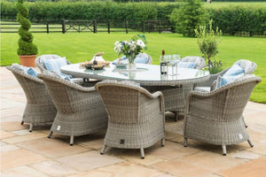 Maze Rattan Oxford 8 Seat Oval Ice Bucket Dining Set with Heritage Chairs and Lazy Susan - Gardenbox