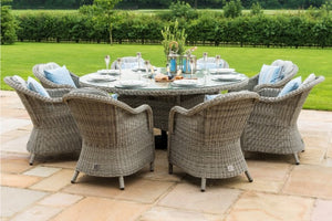 Maze Rattan Oxford 8 Seat Round Ice Bucket Dining Set with Heritage Chairs and Lazy Susan - Gardenbox