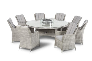 Maze Rattan Oxford 8 Seat Round Fire Pit Dining Set with Venice Chairs & Lazy Susan - Gardenbox