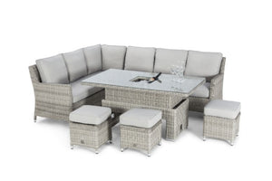 Oxford  Corner Sofa Dining Set with Ice Bucket & Rising Table by Maze Rattan - Gardenbox