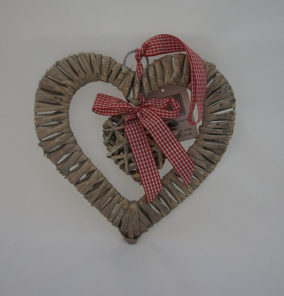 Shabby Chic Heart Shaped Rattan Wreath With Hanging Heart