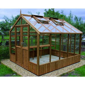 8ft Wide Swallow Raven Wooden Greenhouse in Natural Thermowood