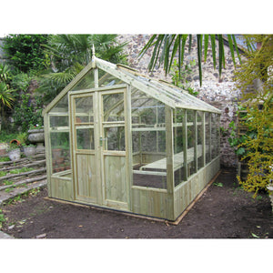The brilliant 8ft wide Raven wooden greenhouse by Swallow