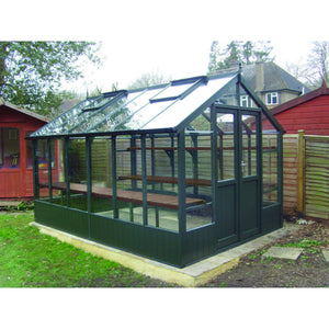 An 8x12 Raven Wooden Greenhouse finished in Olive made by Swallow Greenhouses