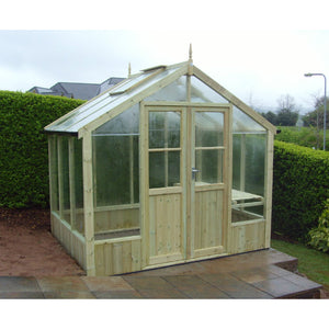 Installed for FREE in your garden the 8ft wide Raven Wooden greenhouse by Swallow