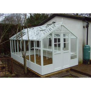 8ft Wide Swallow Raven Wooden Greenhouse in Lily White