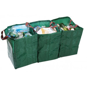 Recycling Bags - Set of 3 in Green - Gardenbox