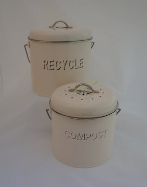 Large Enamel Kitchen Compost and Recycle Bins Twin Pack - Gardenbox