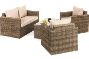 2 Seater Square Sofa with 2 Square Shaped chairs and Rectangular coffee table from Gardenbox