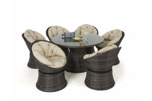 Swivel 6 Seat Round Dining Set by Maze Rattan - Gardenbox