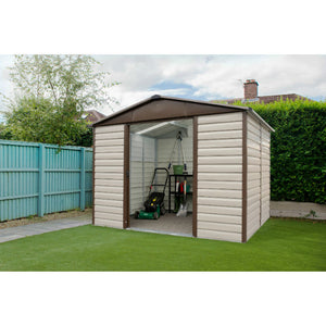 Shiplap 8x6 Metal Garden Shed in Brown 86TBSL by Yardmaster - Gardenbox