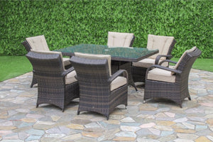 Texas 6 Seat Rectangular Dining Set by Maze Rattan - Gardenbox