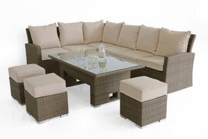 Tuscany Kingston Corner Sofa Dining Set with Rising Table by Maze Rattan - Gardenbox