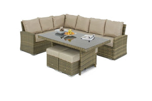 Tuscany Kingston Corner Sofa Dining Set by Maze Rattan - Gardenbox