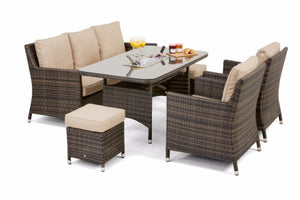Venice Sofa Dining Set with Ice Bucket & Rising Table by Maze Rattan - Gardenbox