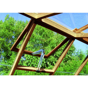 Roof vent opener provides much needed ventilation in the 8ft wide Raven Wooden Greenhouse by Swallow