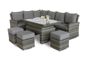 Victoria Corner Sofa Dining Set with Rising Table by Maze Rattan - Gardenbox