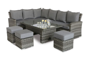 Victoria Rectangular Corner Sofa Dining Set with Rising Table by Maze Rattan - Gardenbox