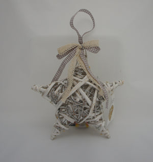 Shabby Chic White Vine and Willow Hanging Star with LED Lights - Gardenbox