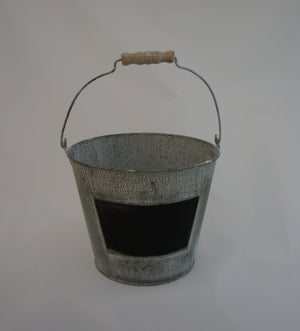 Shabby Chic Whitewash Decorative Metal Bucket - Gardenbox