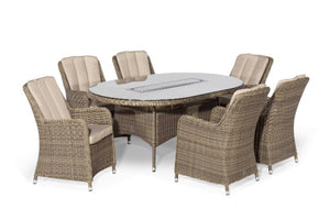 Winchester 6 Seat Oval Fire Pit Dining Set with Venice Chairs by Maze Rattan - Gardenbox