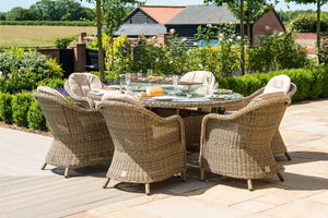 Winchester 6 Seat Oval Fire Pit Dining Set with Heritage Chairs by Maze Rattan - Gardenbox