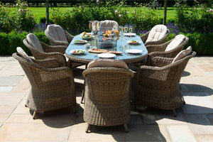 Winchester 8 Seat Oval Fire Pit Dining Set with Heritage Chairs by Maze Rattan - Gardenbox