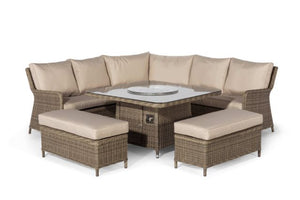 Winchester Royal Corner Dining Set with Fire Pit by Maze Rattan - Gardenbox