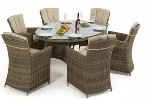 Wicker Style Rattan Exeter Oval Table Dining set with 6 Carver Chairs - Gardenbox